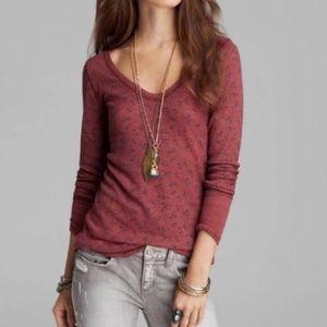 [Free People] Maroon Floral Thermal Long Sleeve T